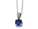 Cheryl M Sterling Silver Rose-cut Synthetic Sapphire and CZ 18in Necklace