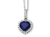 Cheryl M Sterling Silver Heart Synthetic Sapphire/CZ 18in Necklace