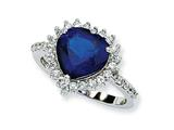 Cheryl M™ Sterling Silver Synthetic Sapphire and CZ Heart Ring