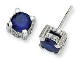 Cheryl M™ Sterling Silver 6.5mm Synthetic Sapphire and CZ Stud Earrings