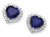 Cheryl M™ Sterling Silver Heart Synthetic Sapphire/CZ Post Earrings