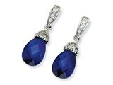 Cheryl M™ Sterling Silver Teardrop Synthetic Sapphire and CZ Dangle Post Earrings