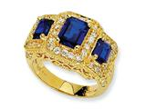 Cheryl M Gold Plated Sterling Silver Synthetic Sapphire and CZ 3-stone Ring