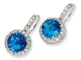 Cheryl M™ Sterling Silver Checker-cut Simulated Blue Topaz and CZ French Wire Earrings