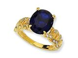 Cheryl M Gold Plated Sterling Silver Synthetic Sapphire and CZ Ring