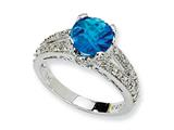 Cheryl M Sterling Silver Checker-cut Simulated Blue Topaz and CZ Ring