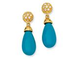 Cheryl M™ Gold Plated Sterling Silver Simulated Turquoise and CZ Post Earrings