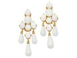 Cheryl M™ Gold Plated Sterling Silver Simul.Wht Agate Dangle Post Earrings