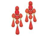Cheryl M™ Gold Plated Sterling Silver Simulated Red Coral Dangle Post Earrings