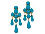 Cheryl M™ Gold Plated Sterling Silver Simulated Turquoise Dangle Post Earrings