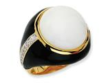 Cheryl M™ Gold Plated Sterling Silver Blk Enam Simulated Wht Agate and CZ Ring