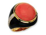 Cheryl M™ Gold Plated Sterling Silver Blk Enam Simulated Red Coral and CZ Ring