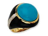 Cheryl M™ Gold Plated Sterling Silver Blk Enam Simulated Turquoise and CZ Ring