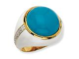 Cheryl M™ Gold Plated Sterling Silver Wht Enam Simulated Turquoise and CZ Ring