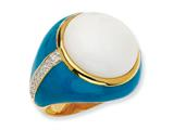 Cheryl M™ Gold Plated Sterling Silver Blue Enam Simul. Wht Agate and CZ Ring