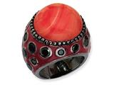 Cheryl M Black-plated Sterling Silver Enameled Simulated Red Coral and CZ Ring