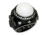 Cheryl M Black-plated Sterling Silver Enamel Simulated White Agate and CZ Ring
