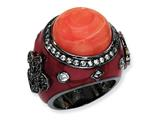 Cheryl M Black-plated Sterling Silver Enamel Simulated Red Coral and CZ Ring