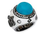 Cheryl M Black-plated Sterling Silver Enamel Simulated Turquoise and CZ Ring