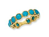 Cheryl M™ Gold Plated Sterling Silver Simulated Turquoise Ring
