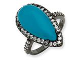 Cheryl M™ Black-plated Sterling Silver Simulated Turquoise and CZ Ring style: QCM550
