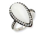 Cheryl M Sterling Silver Simulated White Agate and CZ Ring