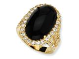 Cheryl M™ Gold Plated Sterling Silver Simulated Onyx Cabochon and CZ Ring