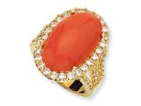 Cheryl M™ Gold Plated Sterling Silver Simulated Red Coral Cabochon and CZ Ring