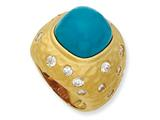 Cheryl M™ Gold Plated Sterling Silver Satin Simulated Turquoise and CZ Ring