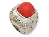 Cheryl M Sterling Silver Satin Simulated Red Coral and CZ Ring
