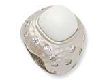 Cheryl M™ Sterling Silver Satin Simulated White Agate and CZ Ring style: QCM558