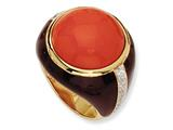 Cheryl M™ Gold Plated Sterling Silver Brn Enam Simulated Red Coral and CZ Ring