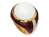 Cheryl M™ Gold Plated Sterling Silver Brn Enam Simulated Wht Agate and CZ Ring