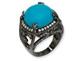 Cheryl M™ Black-plated Sterling Silver Simulated Turquoise and CZ Ring style: QCM561