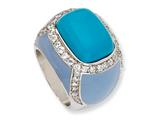 Cheryl M Sterling Silver Enameled Simulated Turquoise and CZ Ring