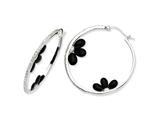 Cheryl M Sterling Silver Simulated Onyx Floral and CZ Hoop Earrings