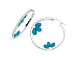Cheryl M Sterling Silver Simulated Turquoise Floral and CZ Hoop Earrings