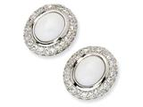 Cheryl M™ Sterling Silver Simulated White Agate and CZ Post Earrings