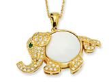 Cheryl M™ Gld-pltd Sterling Silver FauxAgate/CZ/Sim.Emerald 18in Elephant Necklace
