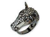 Cheryl M™ Sterling Silver Antiqued CZ Horse Ring