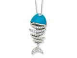 Cheryl M Sterling Silver Simulated Turquoise Enameled CZ Fish 18in Necklace