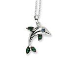 Cheryl M™ Sterling Silver CZ Dolphin 18in Necklace