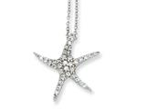 Cheryl M™ Sterling Silver CZ Starfish 18in Necklace