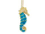 Cheryl M™ Gold Plated Sterling Silver Enameled CZ Seahorse 18in Necklace