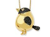 Cheryl M™ Gold Plated Sterling Silver Black CZ Bird 18in Necklace
