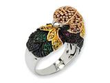 Cheryl M™ Sterling Silver CZ and Sim. Emerald Parrot Ring