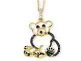 Cheryl M™ Gold Plated Sterling Silver Black Enameled CZ Teddy Bear 18in Necklace