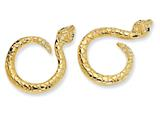 Cheryl M Gold Plated Sterling Silver CZ Snake Post Earrings