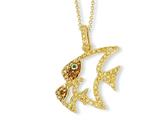 Cheryl M™ Gold Plated Sterling Silver Enamel CZ and Sim.Emerald Fish 18in Necklace