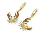 Cheryl M™ Gold Plated Sterling Silver Enameled CZ Crab Leverback Earrings